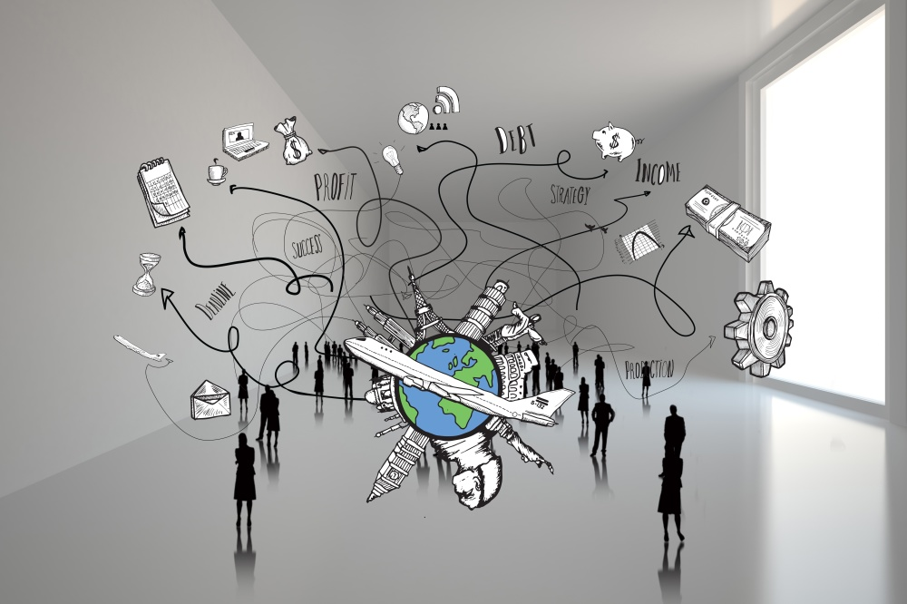 Composite image of tiny figures in huge room